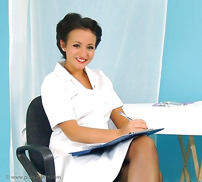 Hot nurse in stockings -..