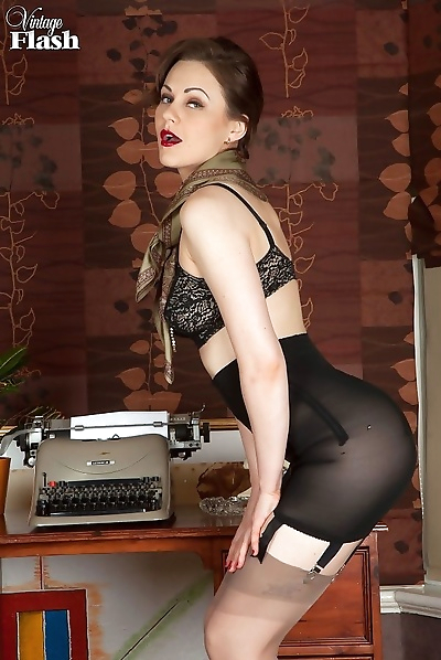 Tina in her home office wearing open bottom girdle and vintage nylons - part 800