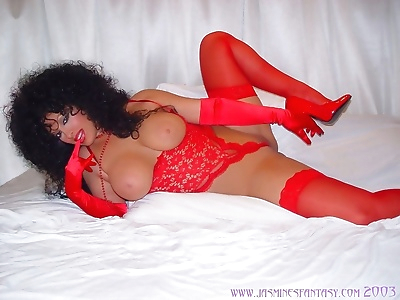 Busty jasmine posing in red lingerie and stockings - part 957