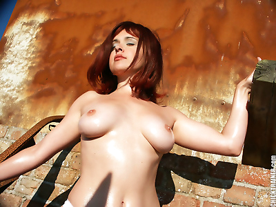 Retro pics of oiled redhead britney stripping nude in public - part 415
